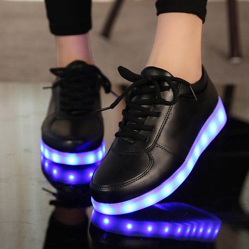 Colorido Luminoso Led cordones de Los Zapatos Para Adultos Zapatos de Las Mujere