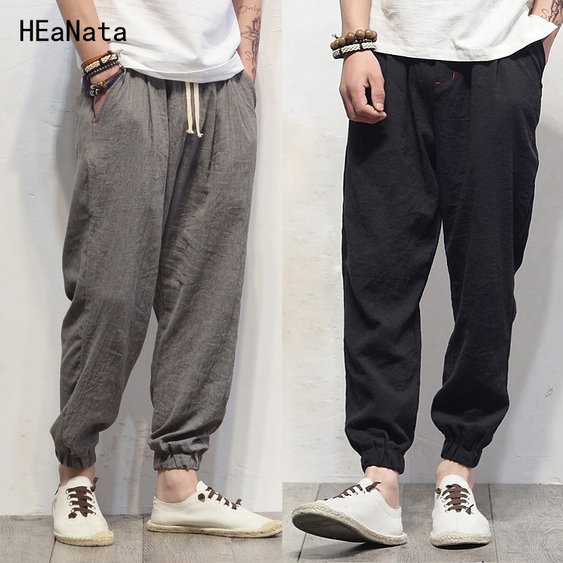 Plus Size Cotton Linen Harem Pants Mens Jogger Pants New Male Casual Track Pants Trousers Hip Hop Loose Chinese Traditional(China)