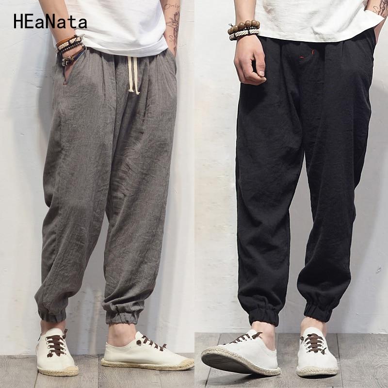 Plus Dimension Cotton Linen Harem Pants Mens Jogger Pants 2018 Male Informal Monitor Pants Trousers Hip Hop Unfastened Chinese language Conventional