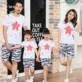 Бесплатная доставка лето семья посмотрите одежда камуфляж звезды матери отца сын футболки + брюки устанавливает девочка мальчик костюмы