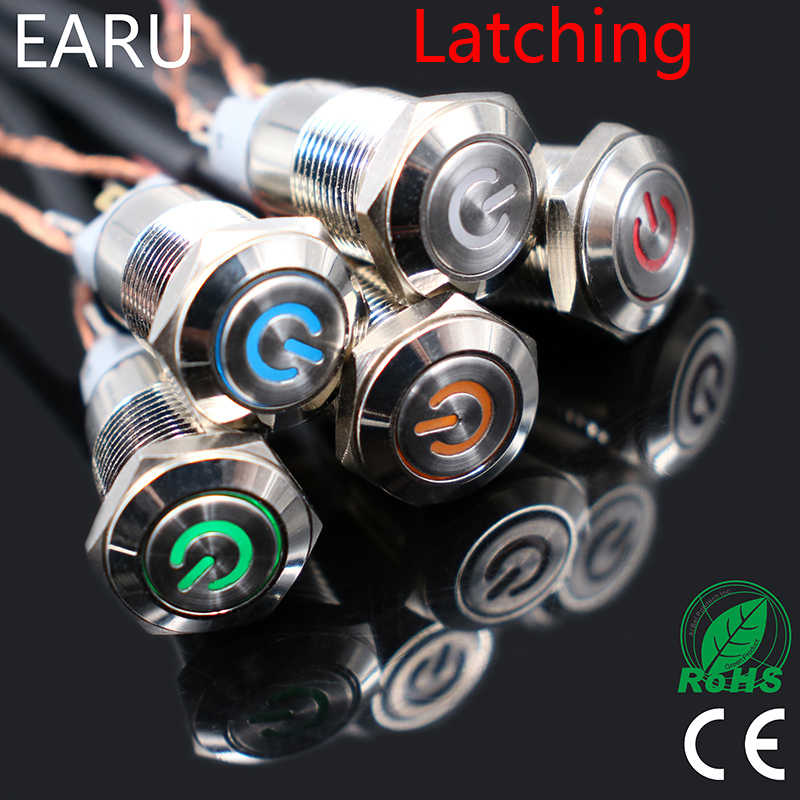 1pc Auto Computer 12mm Rast Engel Auge Aluminium Metall LED Power KEINE Push Button Schalter Self-locking metall Schalter Schließer