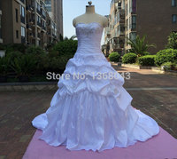 New Beautiful Sweetheart Sleeveless Beading Taffeta Ball Gown Wedding Dress Lace Up In Stock
