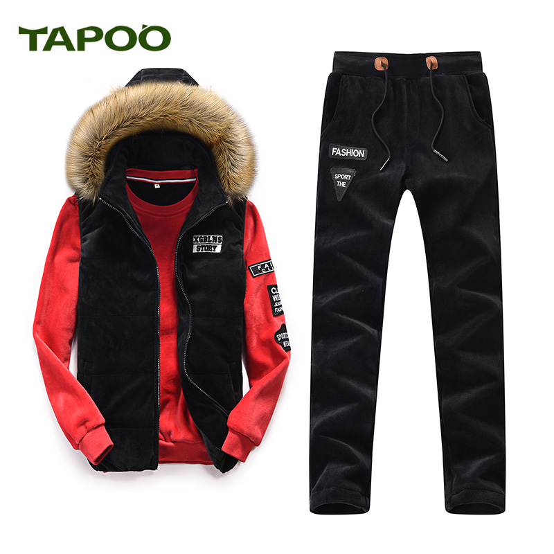 TAPOO NO.001 Store TAPOO 2017 new TAPOO casual suit three-piece sleeveless jacket three yards (vest + pants + sweater) 831