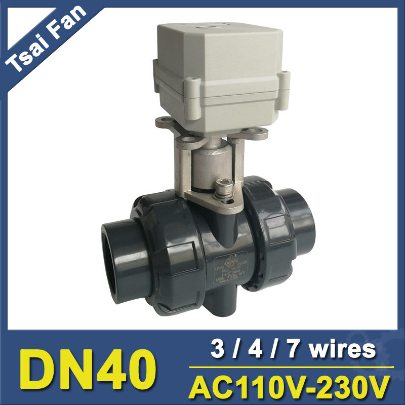 2 Way PVC DN40 Motorized Ball Valve BSP/NPT 1-1/2'' 3/4/7 Wires AC110-230V 10NM Electric Ball Valve On/Off 15 Sec Metal Gear CE ac110 230v 5 wires 2 way stainless steel dn32 normal close electric ball valve with signal feedback bsp npt 11 4 10nm
