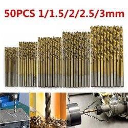 50 teile/satz Titan Beschichtet Twist Drill Bit Set 1/1. 5/2/2,5/3mm High Speed Stahl Holz Bohren Metallbearbeitung Power Werkzeug Heißer Verkauf