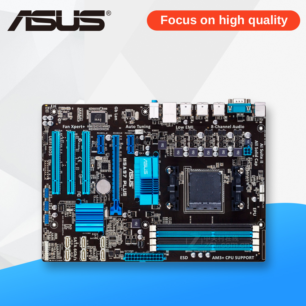 Asus M5A97 PLUS Desktop Motherboard 970 Socket AM3 DDR3 SATA3 USB2.0 ATX asus m4a88t m desktop motherboard 880g socket am3 ddr3 sata ii usb2 0 uatx