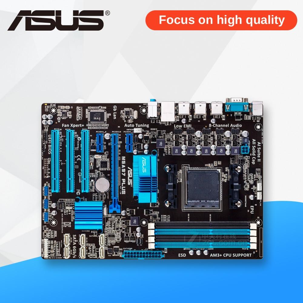 Asus M5A97 PLUS Desktop Motherboard 970 Socket AM3 DDR3 SATA3 USB2.0 ATX asus m4a78 vm desktop motherboard 780g socket am2 ddr2 sata2 usb2 0 uatx second hand high quality