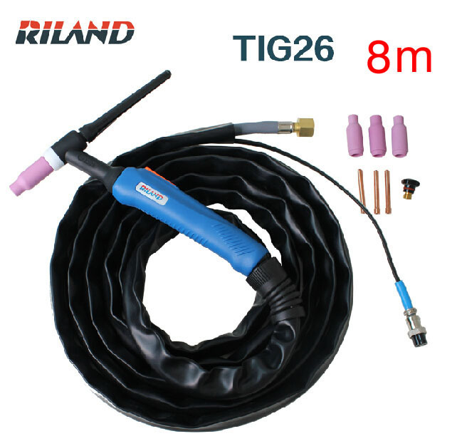 Ruiling tig welding machine  accessories tig torch WP26  8M tig gun /Argon arc welding gun TIG26 air cooling wp 17f sr 17f tig welding torch complete 20feet 6meter soldering iron flexible