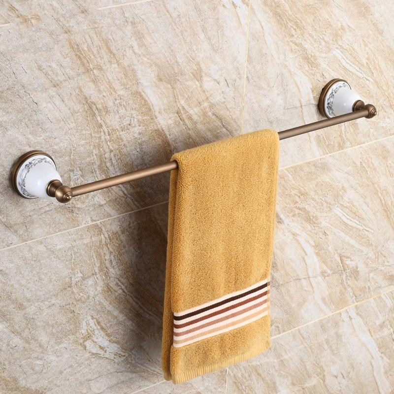 Vintage Ceramic Towel Bar: Antique Brass Bronze Towel Rack Towel Holder American