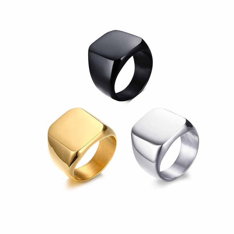 Ataullah สแตนเลสสตีลที่มีสีดำแหวนผู้ชายแหวนขัดเงาคุณภาพสูงชายแฟชั่นเครื่องประดับ RW030