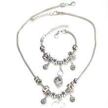 6 Colors Butterfly Rose Necklace Bracelet Set Fine Silver Bead Hollow Chain Beaded Bracelet With Hook DIY Pendant Jewelry(China)