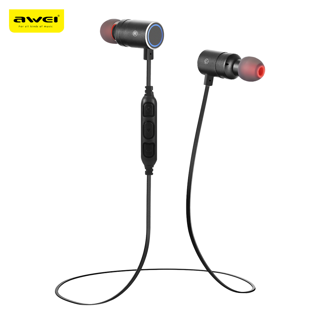 Awei AK8 Waterproof Magic Magnet Attraction Bluetooth 4.1 Sports Earphones Neckband With MIC In-Ear Control Magnetic Attraction
