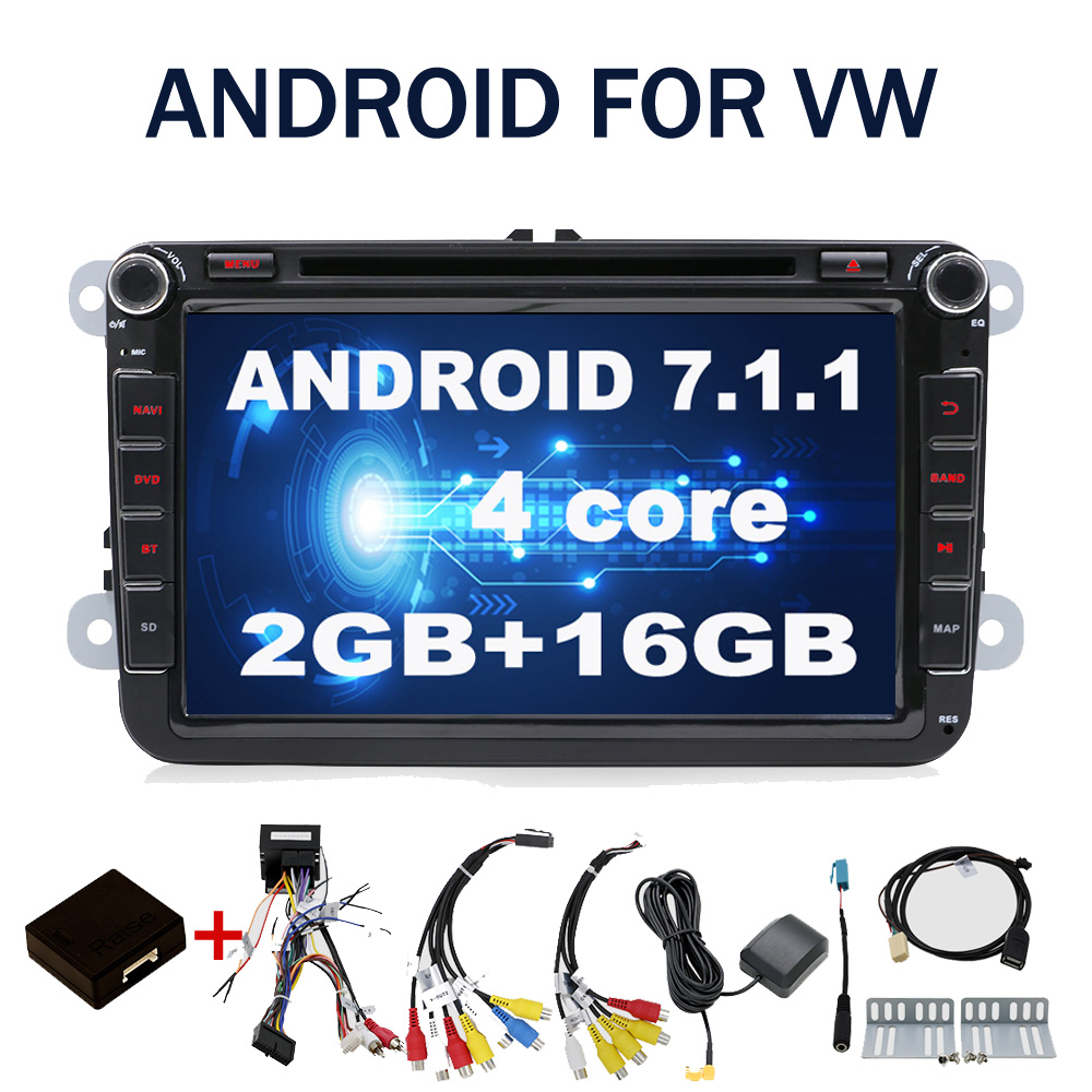 4g SIM LTE Réseau QUAD 4 CORE Android 7.1 2g RAM 2 Din Voiture DVD GPS Navi Radio lecteur Pour VW Skoda Octavia 2 SKODA GOLF 5 Golf 6