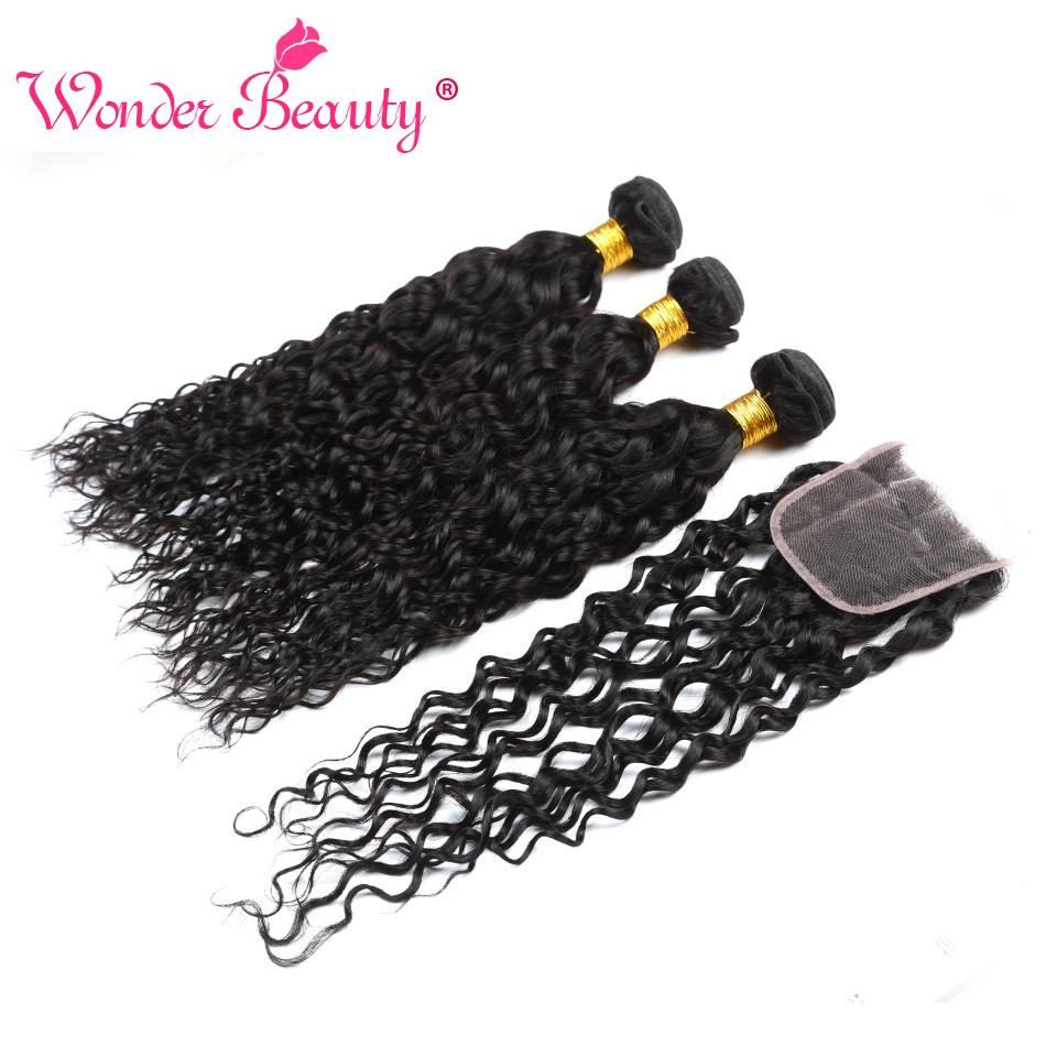 Wonder Beauty Peruvian Hair Water Wave 3 Bundles With Closure 100% Human Hair 3 bundles Non Remy Hair Extensions Free Shipping-in 3/4 Bundles with Closure from Hair Extensions & Wigs    1
