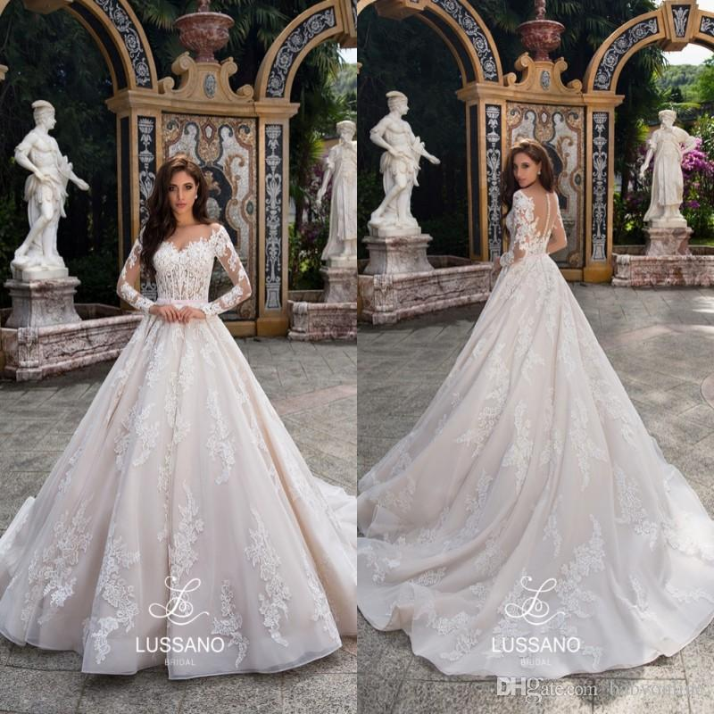 Vintage 2019 Long Sleeves Lace Wedding Dresses Arabic