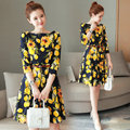 New Autumn Fresh Lemon Print Women Boat Neck Three Quater Sleeve OL A-Line Dress