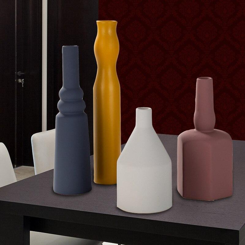 Couleur Pure cylindrique petit trou Vase bureau décoratif fleur pot Table en céramique bouteille affichage fleurs Vases forme géométrique