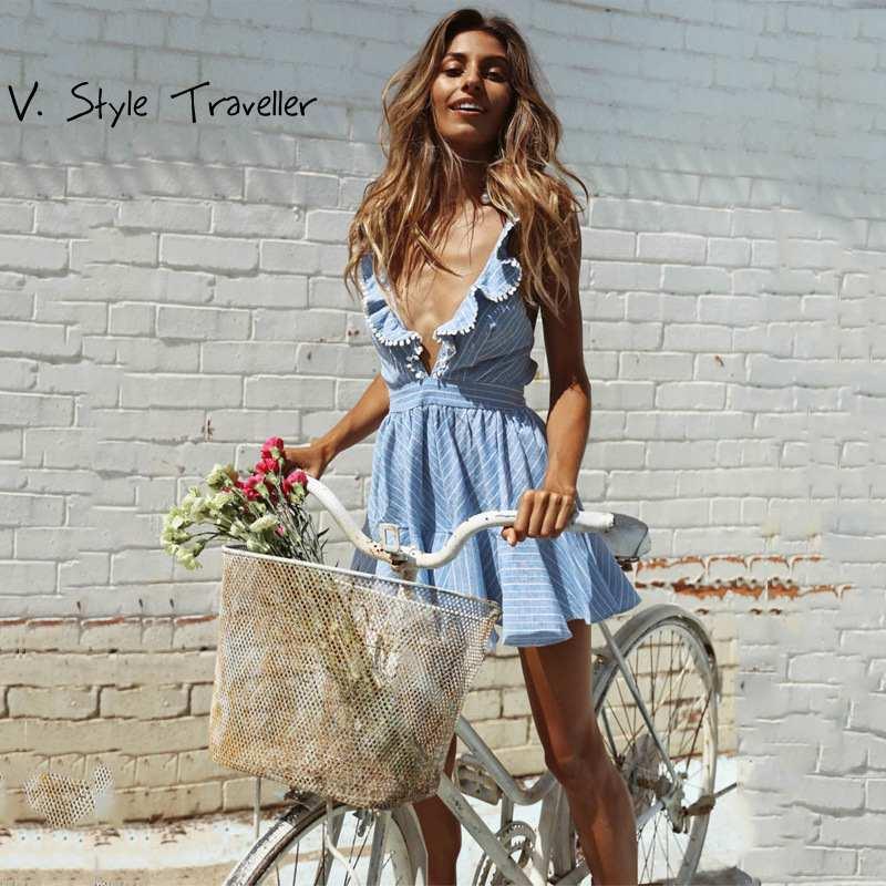 Camis Blauen Streifen Kleid Frauen Casual Rüschen V-ausschnitt ukraine vestido de festa Strand Resort Sexy Boho Sommer Stil Flare kleider