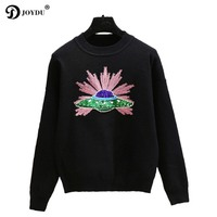 JOYDU 2019 Casual Knitted Sweater Women Pullover Planet Sequins O neck Long Sleeve Cute Runway Sweaters Chic Jumper pull femme