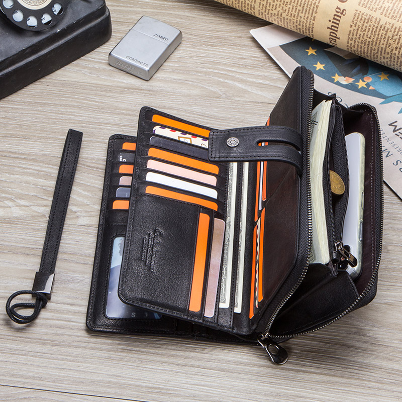CONTACT'S genuine leather men long wallet with card holders male clutch zipper coin purse for cell phone business luxury wallets 4