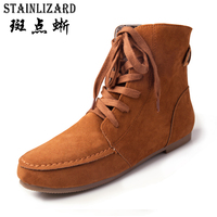 2016 Fashion Women Snow Boots Female Winter Ankle Boot Solid Color Flat With Woman Lace Up