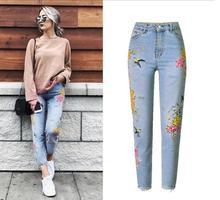 Европейские и американские джинсы с вышивкой. Модные женские джинсы с высокой талией.
