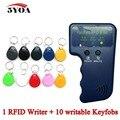 Handheld 125KHz EM4100 RFID Copier Writer Duplicator Programmer Reader +10 Pcs EM4305 T5577 Rewritable ID Keyfobs Tags Card