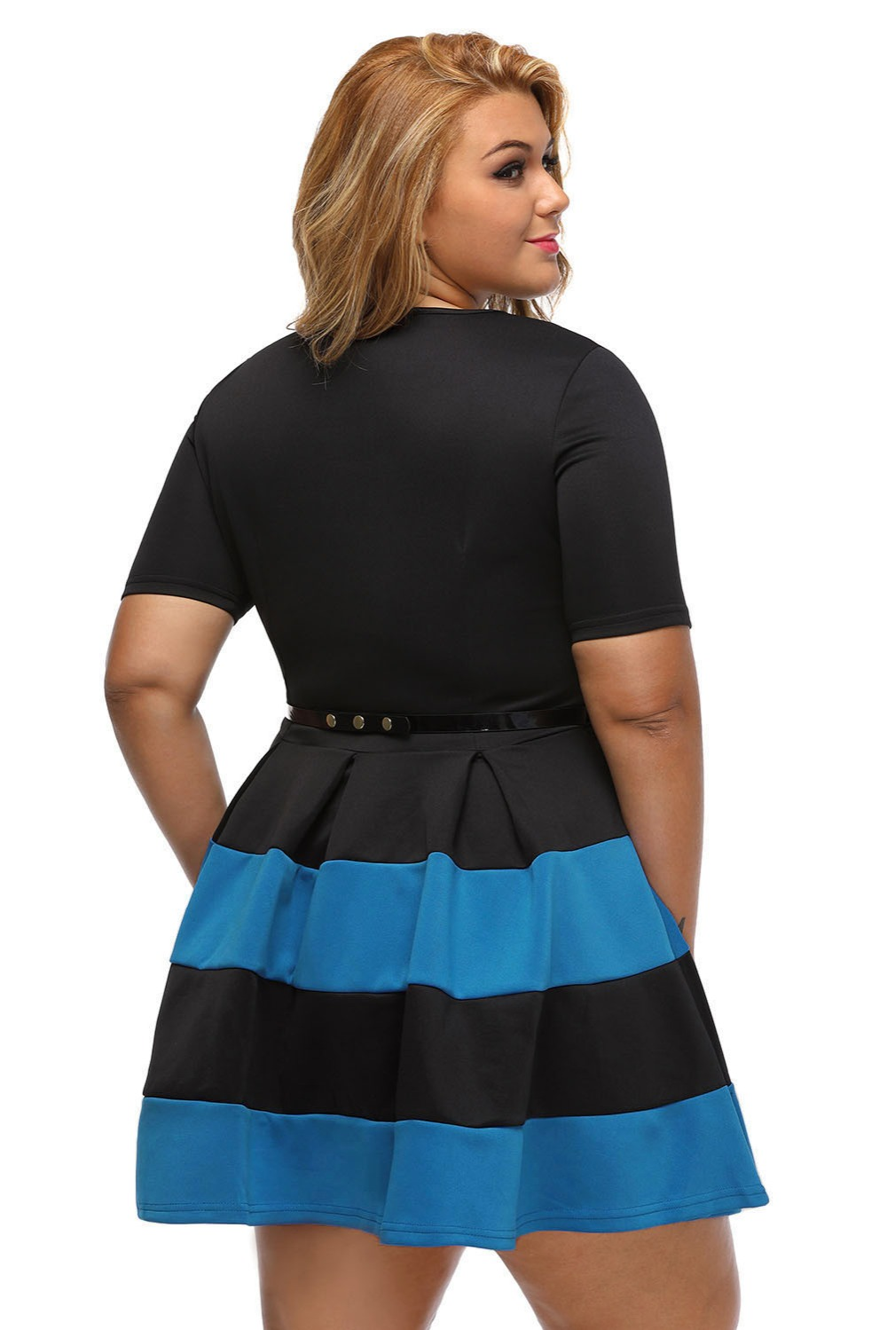 7662e0fd09 Big Girl 3XL Office Ladies Dresses Fall Patchwork White Stripes Detail  Belted Plus Size Skater Dress Vestido Work Clothing-in Dresses from Women s  Clothing ...