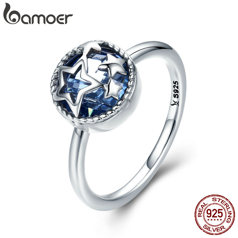BAMOER Authentic 925 Sterling Silver Dazzling Star Blue Crystal CZ Finger Rings for Women Wedding Engagement Jewelry Gift SCR290 925 sterling silver pear natural blue moonstone accent cz rings for women wedding engagement jewelry finger anillos bague anillo