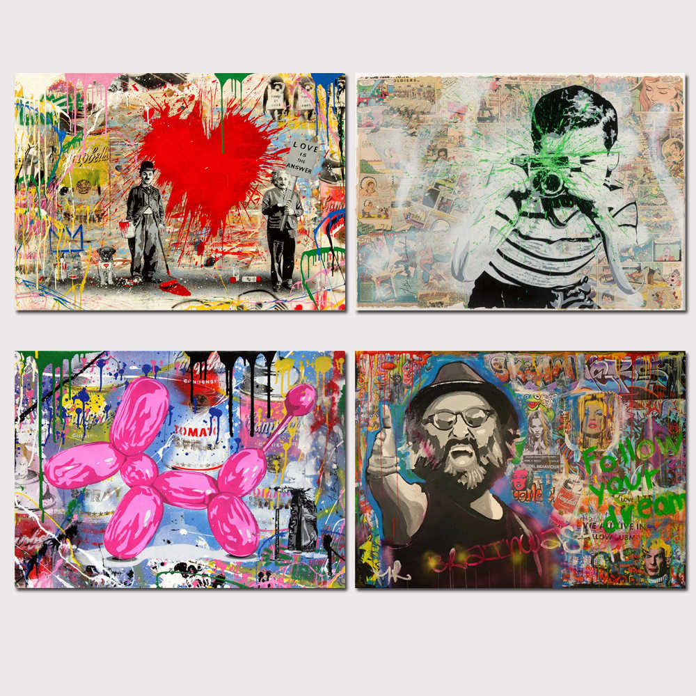Mr Brainwash Banksy Graffiti Wall Art Oil Painting Poster Canvas Painting Print Pictures for Living Room Home Decor 22