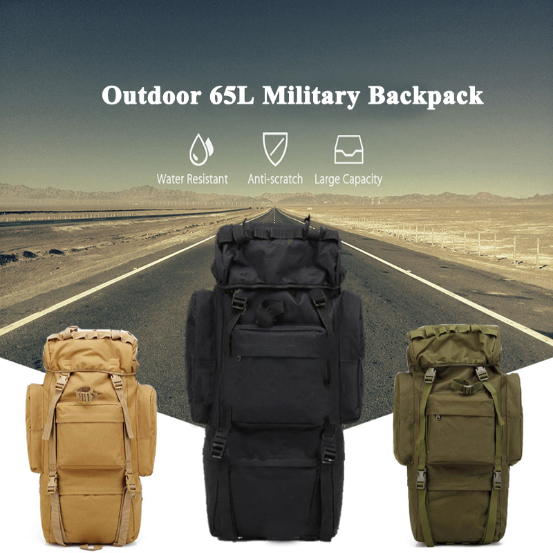Waterproof 65L Outdoor Military Backpack Tactical Hunting Bags Airsoft Rifle Gun Backpack Trekking Hiking Traveling Bag 65l men outdoor army military tactical bag backpack large size camping hiking rifle bag trekking sport rucksacks climbing bags