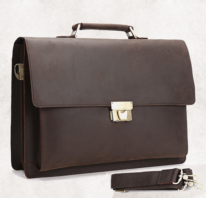 5cf915385c Vintage Genuine Leather men Briefcase Leather Business bag Men laptop Bag  Tote Briefcase with coded lock