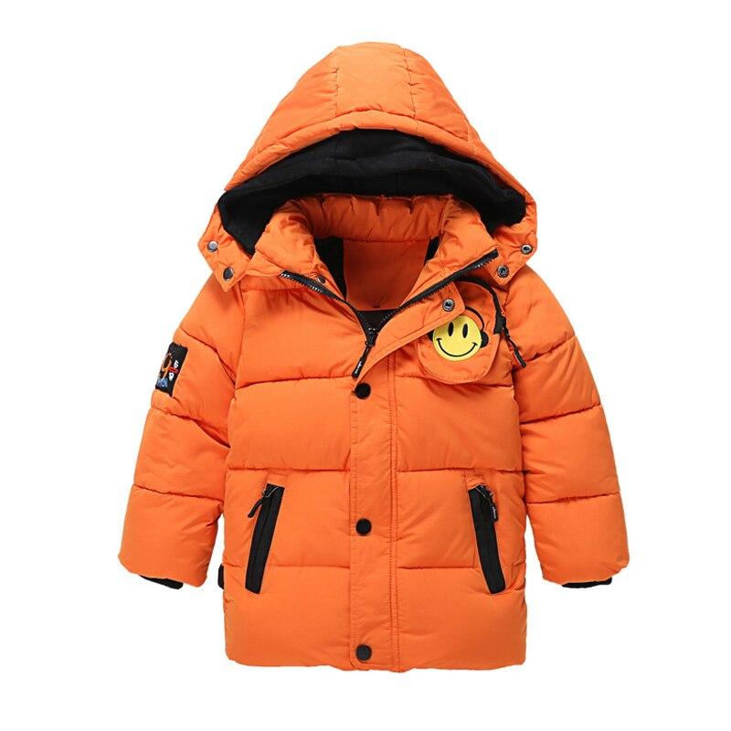 Moda 2016 Erkek Kız için çocuk kış Ceket Yastıklı Ceket Çocuk kış Sıcak Hood Ceket Kaban ile Sevimli 3D Gülümseme Yüz Cep