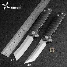 Kkwolf novo bolso faca dobrável d2 lâmina de acampamento caça sobrevivência facas táticas rolamento de esferas flipper lavadora edc ferramentas defesa