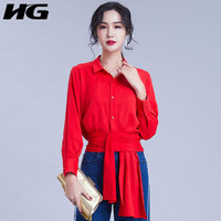 [HG] New Women Europe Fashion 2019 Spring Summer Turn down Collar Shirt Female Solid Color Ribbon Pleated Casual Blouse LYH3042