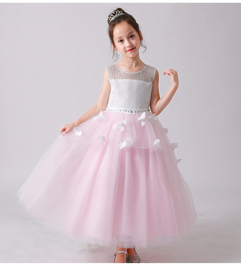 Elegant Girl Summer Clothes Pink Lace Princess Dress Bead Appliques Wedding Christening Gown Girl Party First Communion Dress summer vintage lace dress sleeveless design sweet baby girl floral princess dress wedding christening gown dress girls clothes
