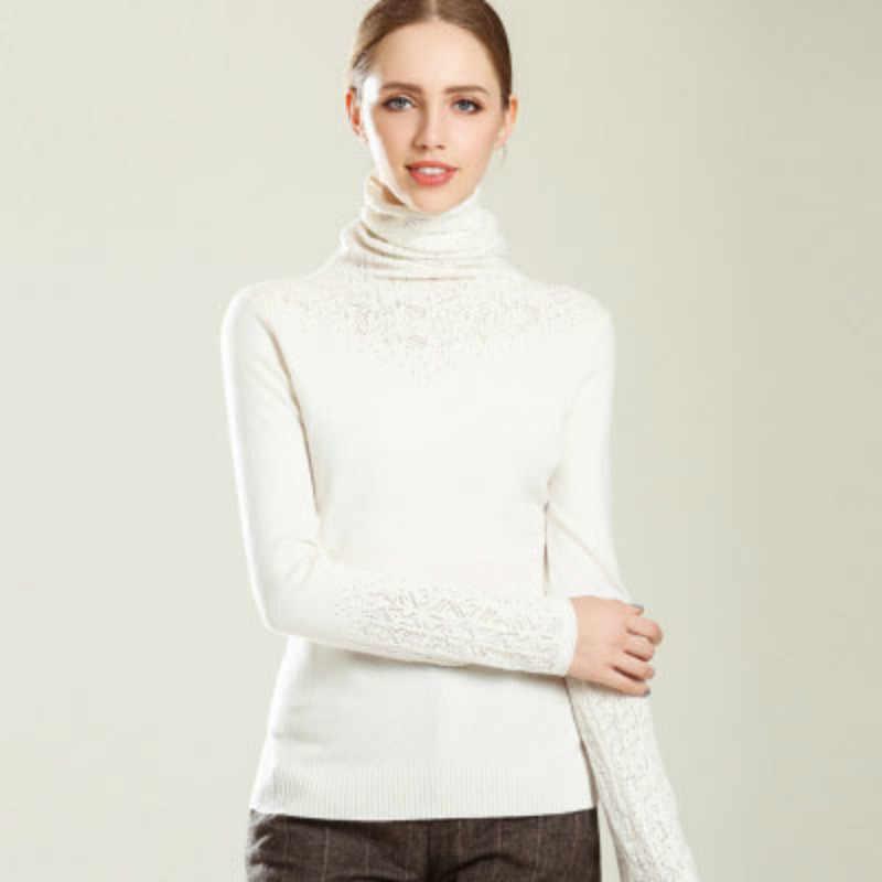 Кашемировый шерстяной свитер, зимний свитер с высоким воротником, новинка 2018, повседневный женский однотонный вязаный свитер с длинным рукавом