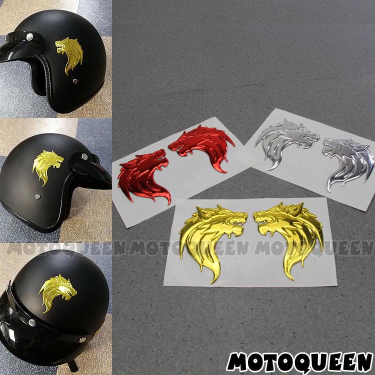 "PAIR 3/"" 3D ABS EMBLEM DECAL MOTORCYCLE FAIRING FENDER STICKER WOLF GANG CHROME"
