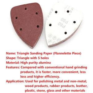 Image 2 - 10pcs 140x90mm Self adhesive Sandpaper Triangle Sander Grit 40 400 Sand Paper Sanding Disc Abrasive Tools For Polishing Wood