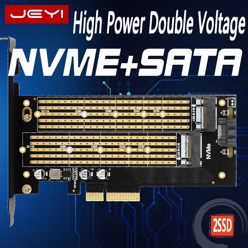 Jeyi sk7 m.2 nvme ssd ngff para pci-e x4 adaptador m chave b placa de interface dupla suppor pci express3.0 dupla tensão 12v + 3.3v sata3