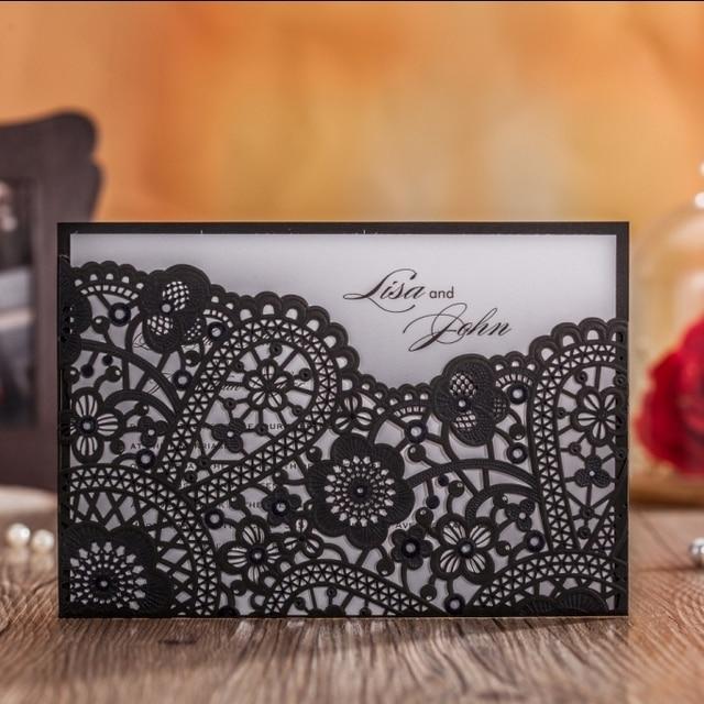 Laser Cut Wedding Invitations Cards Black Red Gold Flora Vintage
