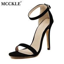 Mcckle/женские пикантные босоножки на высоком каблуке женские Ремешок на щиколотке Пряжка обувь с открытым носком 2017 г. Элегантные Брендовые женские одноцветное платье Насосы черный