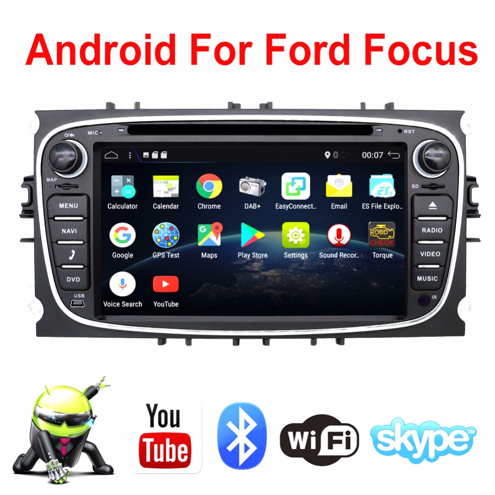 In Dash Android 7.1 For ford focus 2 mondeo 2 Din Car radio GPS Navi DVD Player Stereo Video BT Car PC CD WiFi 3G car parking