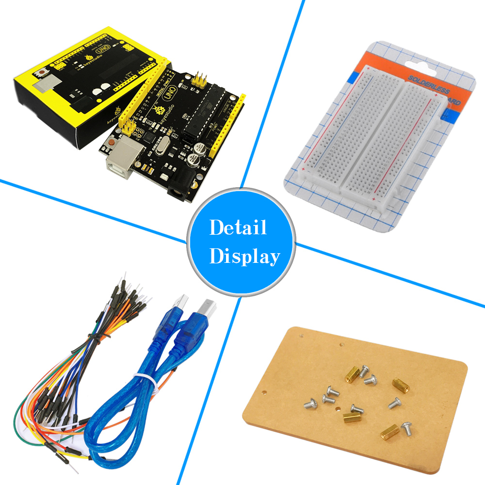 Image 3 - Free shipping! Keyestudio UNO R3 Breadboard kit Gift Box For Arduino Project with dupont wire+LED+resistor+PDF-in Integrated Circuits from Electronic Components & Supplies