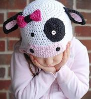 Lovely Bowknot Button Cartoon Cow Infant Baby Boys Girls Crochet Handmade Knitted Hat With Ear Flap