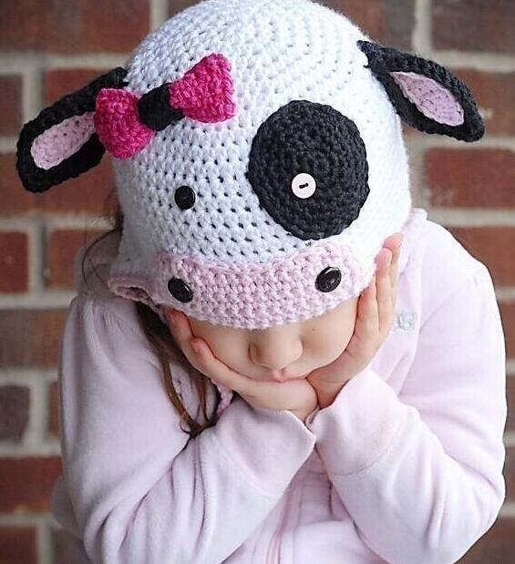 Lovely bowknot button cartoon cow infant baby boys girls crochet handmade knitted hat with ear flap cap wholesale ...