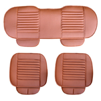 DERMAY 3PCS Set Universal Faux Leather Car Seat Cover 4Colors 2PCS Front Cover 1PC Back Long