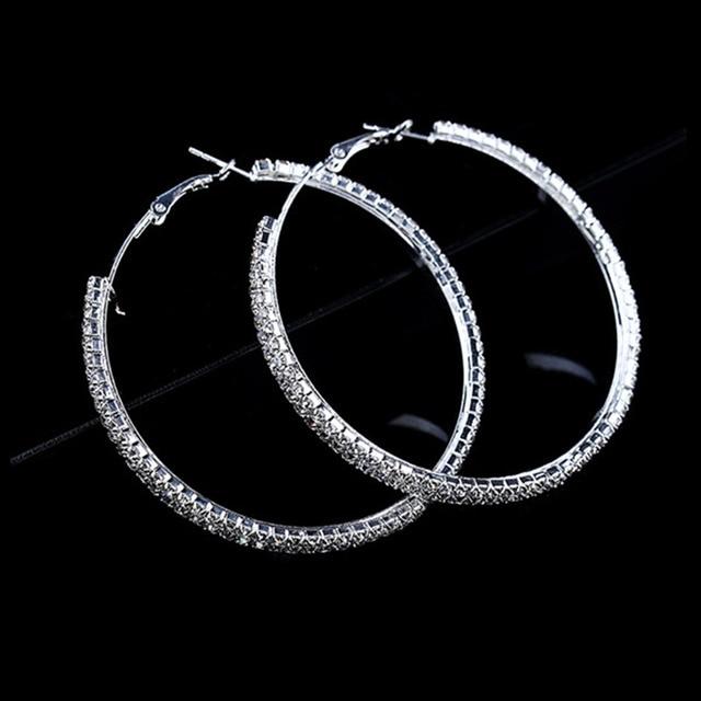 Fashion Crystal Rhinestone Hoop Earrings Silver Luxury Exaggerated Large Circle Earring Women Jewelry Whole Yw122