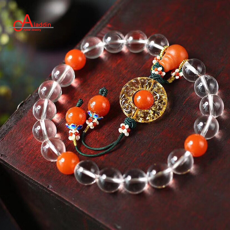 Aladdin Crystal 2018 China Wind Style Bracelets Eighteen Beads of The qing dynasty palace Nature Quartz and coloured glaze бутсы nike mercurial victory iii fg 509128 800