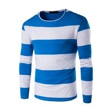 Hot 2017 Men's New Korean Youth Casual Fashion stripes Slim Fall long Sleeves Sweater M-5XL